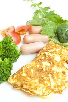 Free Omelet With Sausage Stock Photo - 25984920