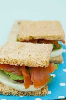 Free Cracker Sandwich With Smoked Salmon Royalty Free Stock Image - 25985016