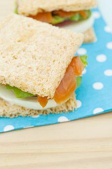 Free Cracker Sandwich With Smoked Salmon Stock Photo - 25985040