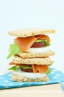 Free Cracker Sandwich With Smoked Salmon Stock Photos - 25985083