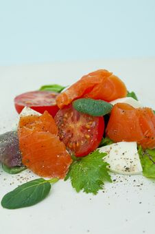 Free Salad With Smoked Salmon Royalty Free Stock Photo - 25985205