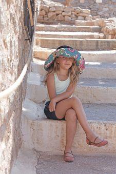 Girl Resting On A Halt Stock Photo
