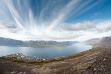 Free Fjord Surrounded By Mountains Royalty Free Stock Images - 25986069