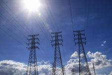 Free Backlight Power Transmission Tower  Group Stock Photos - 25986463