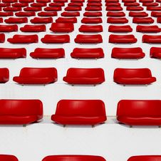 Free Row Of Empty Red Stadium Royalty Free Stock Photos - 25986468