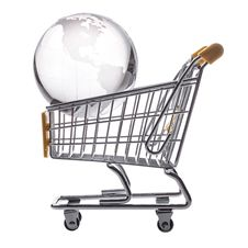 Free Isolated Shopping Cart And Globe Royalty Free Stock Photo - 25986545