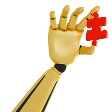 Free Golden Robotic Hand With Red Puzzle Royalty Free Stock Image - 25988186