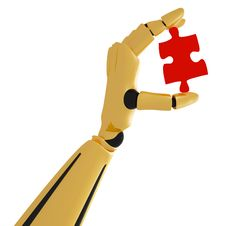 Golden Robotic Hand With Puzzle Stock Images