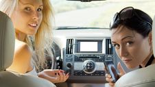 Attractive Women Inside A Car Royalty Free Stock Photography