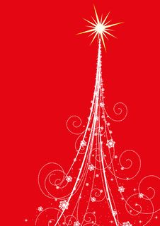 Free Christmas Tree On Red Background Royalty Free Stock Images - 25990649