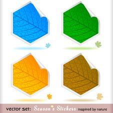 Free Premium Four Seasons Peeling Labels Stock Photography - 25992202