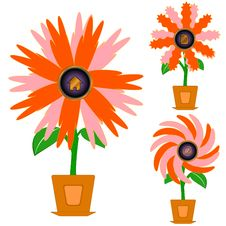 Flowers With Icons Stock Images