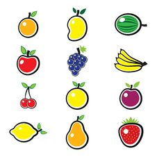 Free Colorful Organic & Fresh Summer Fruit Illustration Royalty Free Stock Images - 25999219