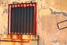 Free Old Wall With Red Window Royalty Free Stock Photography - 262297