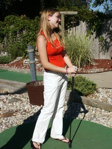 Free Girl With Putter Stock Images - 266034