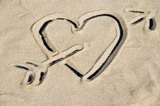 Free Heart Depicted In Sand Stock Photography - 269702