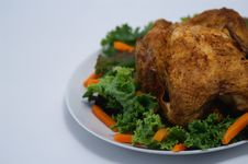 Free Roast Chicken Lettuce Carrots Royalty Free Stock Image - 2600316