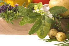 Cut Fresh Herbs And Vegetables Stock Image