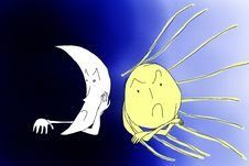 Free Angry Sun Vs Angry Moon Stock Photos - 2602533