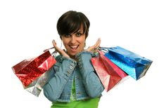 Free The Happy Girl With Purchases Stock Photography - 2605822