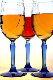 Free Blue Stemmed Wine Glasses Stock Image - 2606881