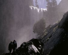 Mist Trail Vernal Falls Stock Photo
