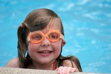 Free Girl Swimming With Goggles Royalty Free Stock Photos - 2608278