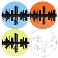 Free Silhouette Of The City On A Colored Background Stock Photos - 26005853