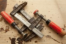 Bar Clamps In Workshop Royalty Free Stock Photo
