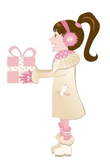 Free Small Girl With Present Stock Photo - 26001100
