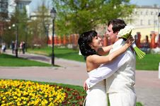 Free Happy Groom And Bride On Wedding Walk Stock Photo - 26001160