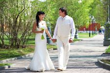 Happy Groom And Happy Bride Walking In Park Stock Image