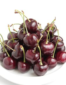 Free Red Cherries On White Dish Stock Images - 26003964