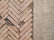 Free Herringbone Brickwall And Stone Bract Pattern Royalty Free Stock Photo - 26004925