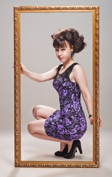 Free Beautiful Girl In A Violet Dress Royalty Free Stock Photo - 26006675