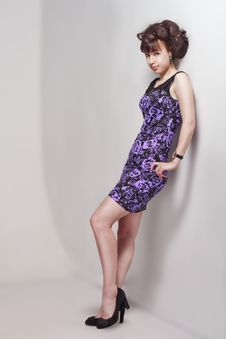 Free Beautiful Girl In A Violet Dress Stock Image - 26006681