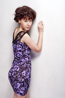 Free Beautiful Girl In A Violet Dress Royalty Free Stock Photo - 26006695