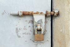 Door Latch With Padlock Royalty Free Stock Images