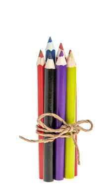 Colored Pencils Tied With A Rope Stock Images