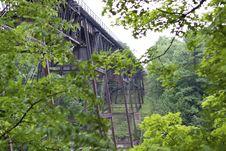 1887 Iron Railroad Bridge Through The Trees Stock Photo