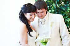 Free Happy Bride And Groom Look At Bouquet Stock Photo - 26017810