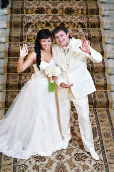 Free Happy Bride And Groom Against A Carpet Royalty Free Stock Photo - 26017885
