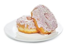 Free Iced And Sprinkled Doughnuts On Plate Royalty Free Stock Photos - 26030508