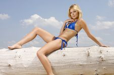 Free Beautiful Blonde Woman In Blue Bikini Royalty Free Stock Photo - 26032295