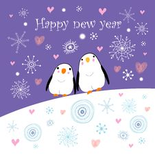 Free Greeting Card With Penguins Royalty Free Stock Photos - 26034908