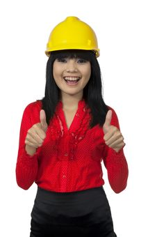 Free Architect Woman Give Thumb Up Royalty Free Stock Photography - 26039217