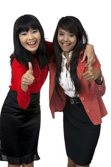 Free Two Business Woman Give Thumb Up Royalty Free Stock Images - 26039219