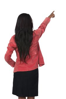 Free Woman Pointing From Back Royalty Free Stock Photos - 26039228