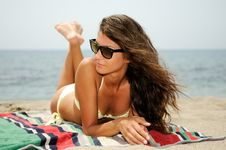 Free Woman With Beautiful Body On A Tropical Beach Royalty Free Stock Image - 26040576