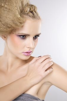 Free Young Pretty Woman With Beautiful Blond Hairs Stock Image - 26048891